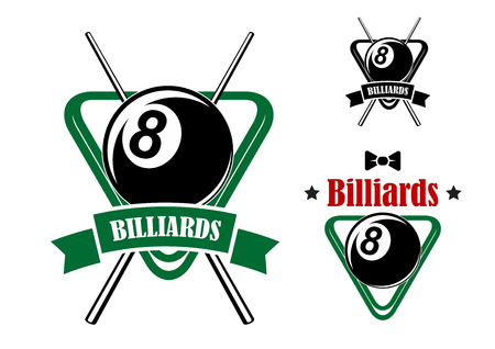 Billiards or pool game emblems with balls in the triangle racks, stars and bow tie. Second variant with crossed cues and ribbon banner.Suitable for sporting club or team design