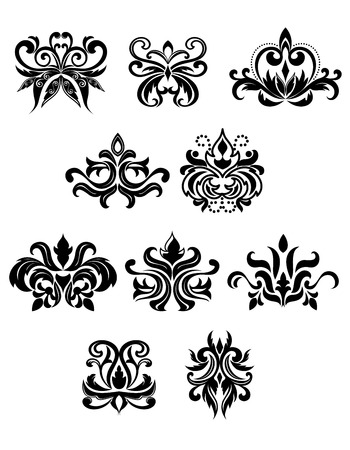 Illustration pour Black flowers in damask style decorated with buds, dots, twirls and lush curly foliage. Isolated on white background - image libre de droit