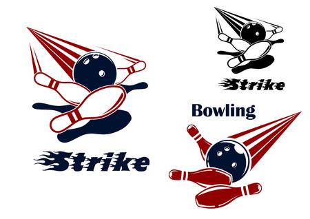 Ilustración de Bowling strike icons or emblems design with bowling balls crashing ninepins in red, blue, black and white colors - Imagen libre de derechos