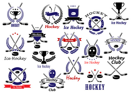 Illustration for Ice hockey sport game emblems and badges with hockey pucks, sticks, protective masks and trophies, heraldic shields, wreaths, ribbon banners and stars - Royalty Free Image