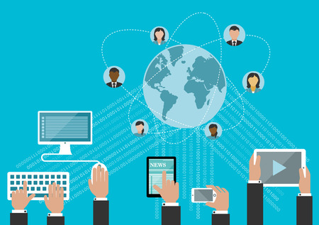Foto per Social media network and global communication concept in flat style with hands using desktop computer, smartphone and tablet computers with data streams and globe surrounded user avatars - Immagine Royalty Free