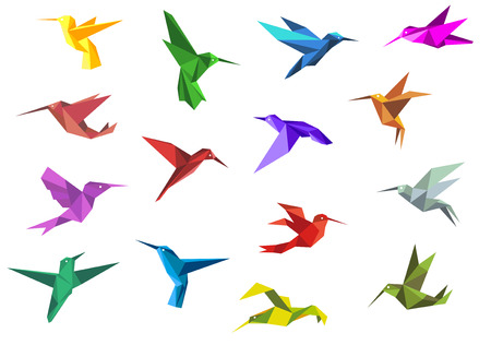 Illustration pour Flying origami paper hummingbirds or colibri isolated on white background, suitable for nature or logo design - image libre de droit