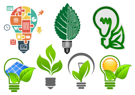 Ilustración de Ecology light bulbs symbols with abstract lamps, computer motherboard, green leaves, sun, solar panel and business icons puzzle, for environment or save energy concept design - Imagen libre de derechos