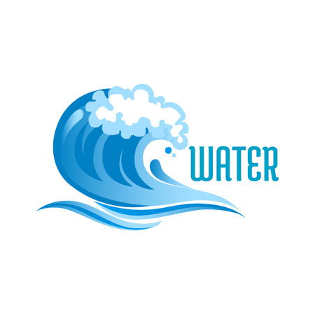 Illustration pour Blue ocean wave with foam bubbles and surf isolated on white background with text Water - image libre de droit