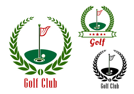 Illustration pour Golf club badg with ball near to hole on green field  and flagsticks encircled by laurel wreaths and ribbon banner - image libre de droit