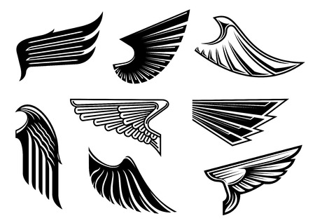 Illustration for Black tribal wings with pointed feathering isolated on white for tattoo,religious or heraldic design - Royalty Free Image