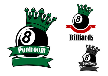 Crowned black billiards or pool balls sporting emblems with green and red ribbon banners, headers Poollroom and Billiards