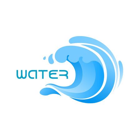 Ilustración de Swirling blue ocean wave or surf emblem for business, technology, nature or travel design - Imagen libre de derechos