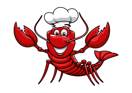 Illustration pour Happy cartoon red lobster chef mascot character with white uniform toque cap. For restaurant or seafood design - image libre de droit