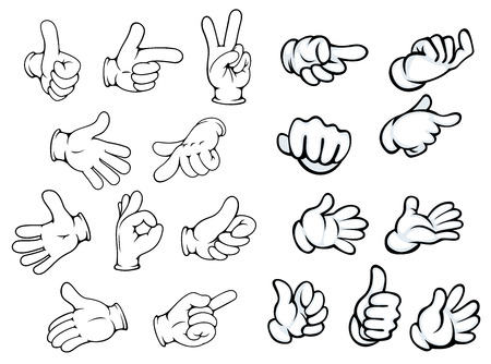 Foto de Hand gestures and pointers in comics cartoon style for advertisment or communication design, isolated on white - Imagen libre de derechos