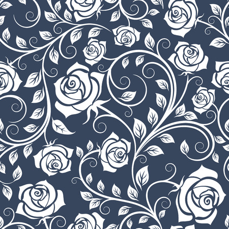 Ilustración de White and blue seamless roses pattern in retro style with trailing vines and large flowers suitable for fabric or interior design - Imagen libre de derechos