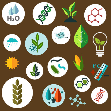 Ilustración de Science and agronomic research flat icons with agricultural crops, chemical formulas, pests, models of DNA and cells, weather, sun, water and temperature control symbols - Imagen libre de derechos