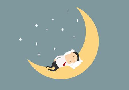 Ilustración de Cartoon tired businessman sleeping on the moon surrounded by shining stars for relaxation or dreams concept design. Flat style - Imagen libre de derechos