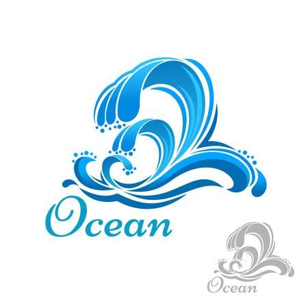 Ilustración de Blue sea wave of ocean surf symbol for ecology, business or nature design - Imagen libre de derechos