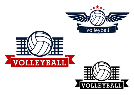 Ilustración de Volleyball sporting icons with volleyball ball and net on the background, winged ball with stars and ribbon banners - Imagen libre de derechos