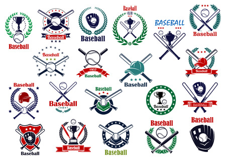 Illustration pour Baseball game emblems and icons with balls, crossed bats, trophy cups, gloves, helmet and caps decorated by wreaths, stars, shield and ribbon banners - image libre de droit