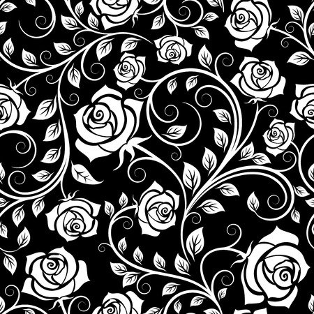 Illustration pour Seamless pattern of vintage white roses among twisted stems on black background, for wallpaper or interior design - image libre de droit