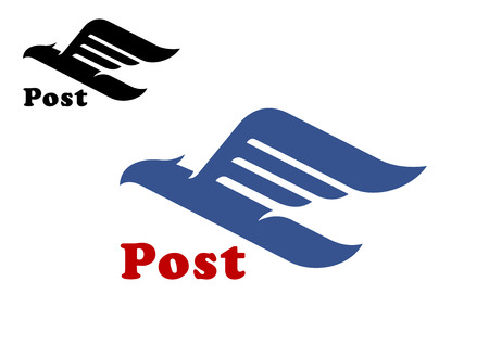 Ilustración de Post symbol with abstract blue bird silhouette in flight with trailing wings and outstretched neck on white background, for postal or air shipping design - Imagen libre de derechos