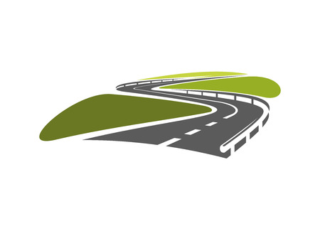 Highway road symbol with hairpin bends and metallic guardrails, for travel or transportation design