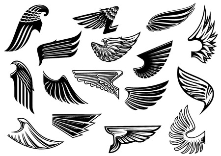 Illustration for Vintage isolated heraldic wings set with detailed and abstract plumage, for tattoo or heraldry design - Royalty Free Image