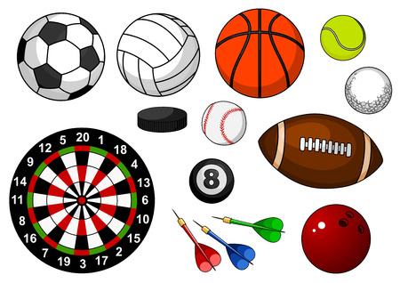 Ilustración de Sport items with football, soccer, rugby, basketball, volleyball, tennis, golf, baseball, billiards, bowling, hockey puck and dartboard isolated on white background - Imagen libre de derechos