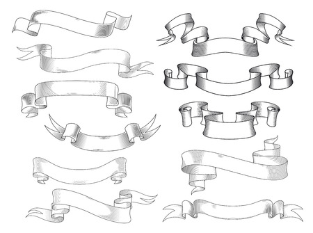 Illustration pour Vintage ribbon banners and scrolls with forked and curved ends in engraving style, isolated on white - image libre de droit