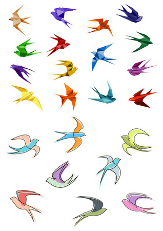 Illustration pour Colorful flying swallows birds in paper origami and outline sketch style isolated on white background for business logo or emblems design - image libre de droit
