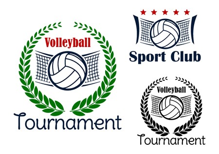 Illustration pour Volleyball club and tournament emblems with volleyball balls, net and green laurel wreath - image libre de droit