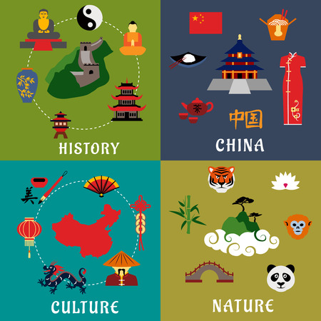 Illustration pour China history, culture and nature flat icons with flag and map, temples, Great Wall, chinese cuisine and tea ceremony, dragon, fan, lantern, calligraphy, animals, lotus and bamboo - image libre de droit