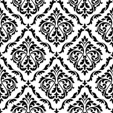 Illustration pour Black and white damask floral seamless pattern with elegant flower buds. For wallpaper and background design - image libre de droit