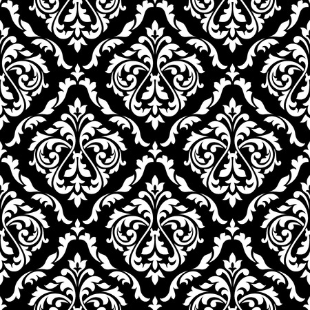 Illustration pour White foliage damask seamless pattern with victorian leaf scrolls, decorated flower buds on black background for luxury wallpaper or interior accessories design - image libre de droit