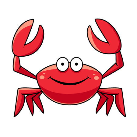 Illustration pour Happy red marine crab with big claws and a smiling face, cartoon style - image libre de droit