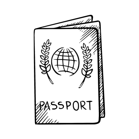 Passport with globe and olive branches on the cover isolated on white background, outline sketch style