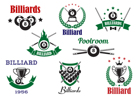 Billiards sports icons with billiard balls, cues and trophy cups, decorated by flame, stars, crown, heraldic shield, laurel wreaths and ribbon banners