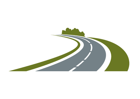Ilustración de Winding paved road icon with green grassy roadside and curly bushes isolated on white background.  For travel or transportation theme - Imagen libre de derechos