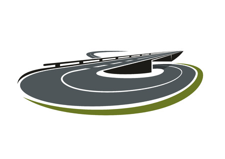 Illustration for Round road interchange abstract icon with highway leading under the overpass road. For transportation theme - Royalty Free Image