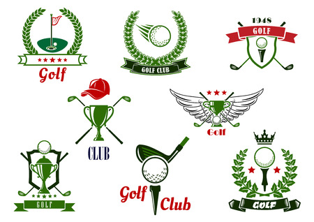 Ilustración de Golf club emblems or logo with balls, clubs, tees, putting green, trophies, supplemented by stars, crown, wings, cap, shields, laurel wreaths and ribbon banners - Imagen libre de derechos