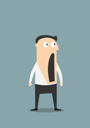 Illustrazione per Surprised or shocked businessman with wide open mouth, for emotion expression concept design. Cartoon flat character - Immagini Royalty Free
