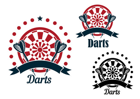 Ilustración de Darts game icons of arrows with striped fletching and dartboards, decorated by stars, dots and ribbon banners - Imagen libre de derechos