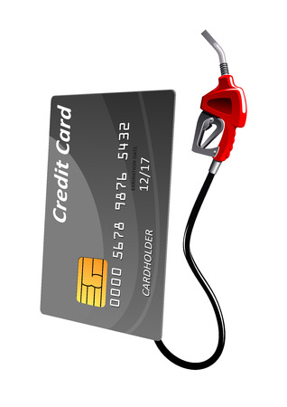 Illustration pour Gray credit card with gas pump nozzle, isolated on white background. For financial or oil concept themes - image libre de droit
