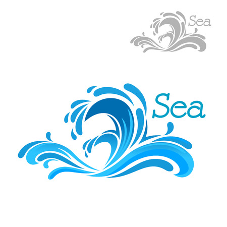 Ilustración de Cartoon blue sea wave splash on white background, for nature or water themes design - Imagen libre de derechos