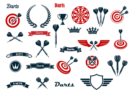 Illustration pour Darts game items and heraldic elements with arrows, dartboards, trophy, heraldic shield, laurel wreath, ribbon banners and crowns. For sports and leisure theme design - image libre de droit
