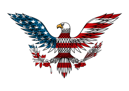 Illustration pour American eagle icon with outstretched wings holds bundle of arrows and olive branch in talons, for tattoo or t-shirt design - image libre de droit