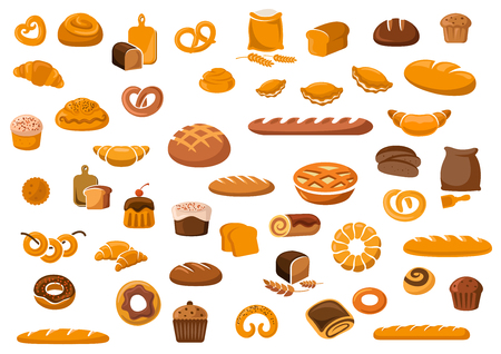 Illustration pour Bakery and pastry products icons set with various sorts of bread, sweet buns, cupcakes, dough and cakes for bakery shop or food design - image libre de droit