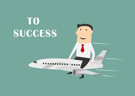 Ilustración de Cheerful cartoon businessman flying on white airplane to success, for leadership or motivation concept themes. Flat style - Imagen libre de derechos