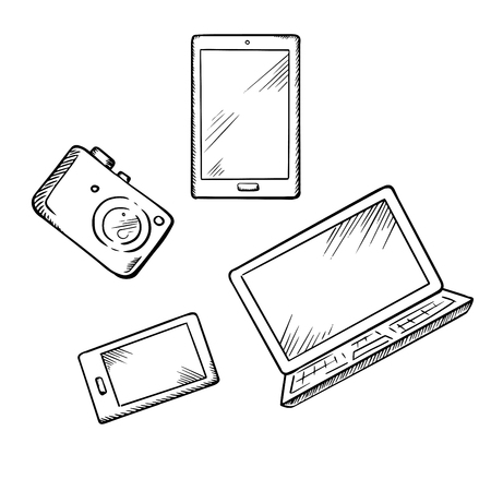Illustration for Sketch of modern smartphone, tablet pc, laptop and digital photo camera, for electronic devices theme design - Royalty Free Image