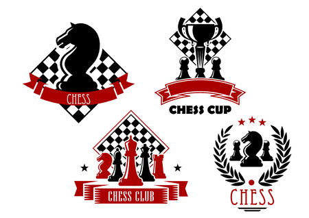 Illustration for Chess club and tournament cup icons with king, queen, bishop, knight, rook and pawn pieces, trophy cup and chessboards, framed by laurel wreath, ribbon banners and stars - Royalty Free Image