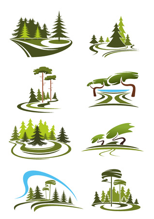 Illustration pour Summer park, garden and forest landscape icons with green trees, decorative lawns, scenic lake, shady alleys and grassy glades. For nature theme design - image libre de droit