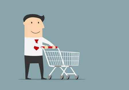Ilustración de Friendly smiling cartoon businessman with empty shopping cart, ready for shopping - Imagen libre de derechos