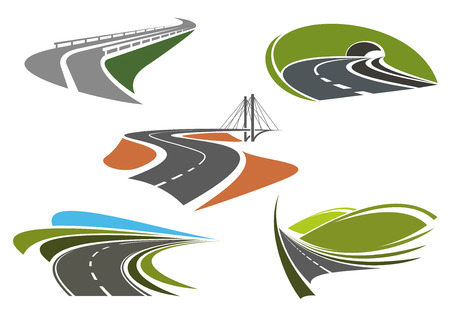 Foto per Road bridge, highway tunnel, mountain freeway and steep turns of highways icons set, for travel or transportation themes - Immagine Royalty Free